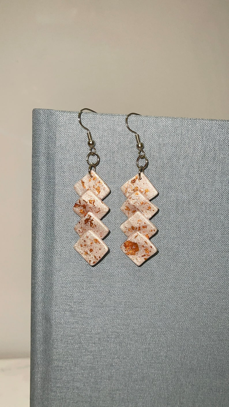 Handmade in Texas Polymer Clay Custom White and Gold Square layered Earrings One of a kind