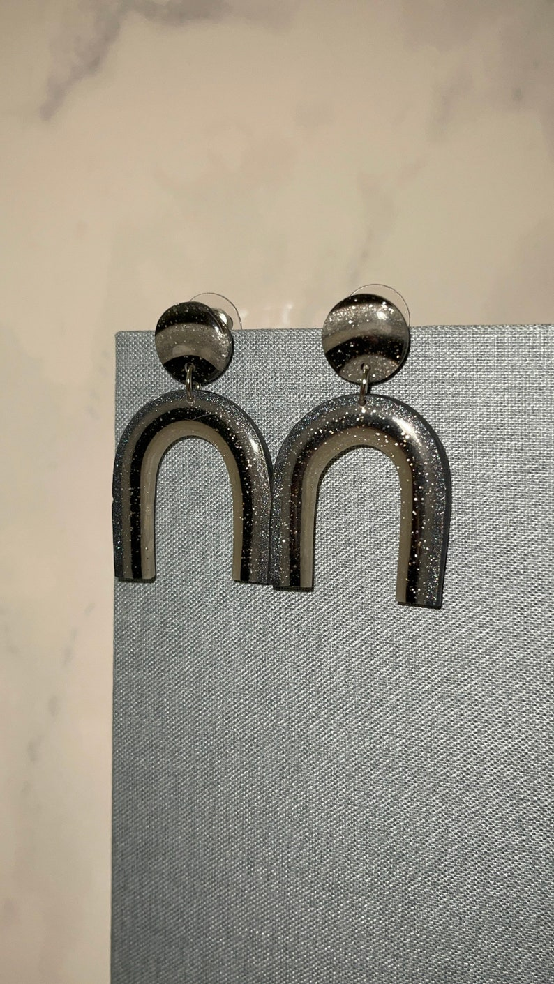 Handmade in Texas Custom Black Rainbow Earrings Gifts for her Polymer Clay