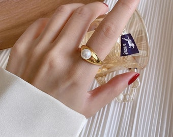 Brass Minimalist Ring Modern Pearl Ring Real Pearl Gold Ring Engagement Ring Statement Ring Gold Filled Ring Minimalism Ring