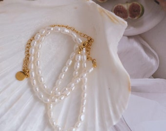 Dainty freshwater pearl choker bracelet and earrings set Baroque pearl choker necklace delicate gift for Her