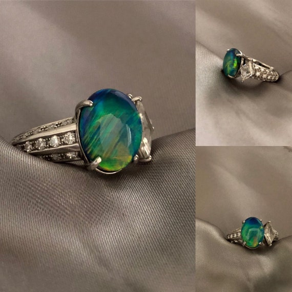 Rare Australian Black Opal Ring