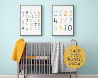 Printable Poster NSR Baby Custom Name Print Woodland Wall Art Set Of 3 Alphabet Animals Animal numbers Print Shape Poster Nursery