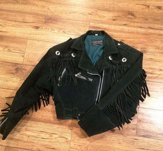 Emerald Green Crop Suede Fringe Leather Jacket