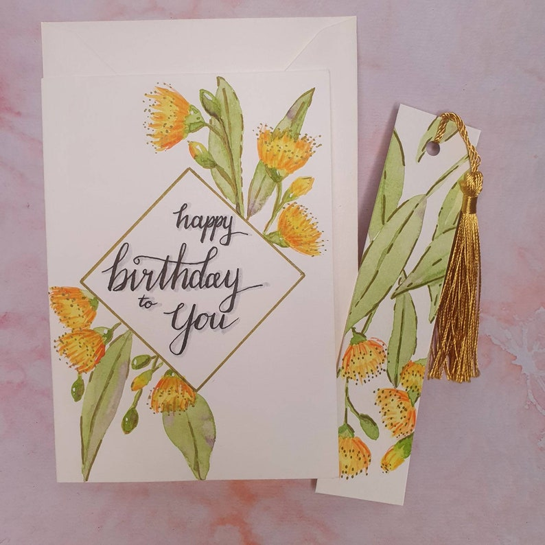 Handpainted watercolour birthday card with optional matching bookmark