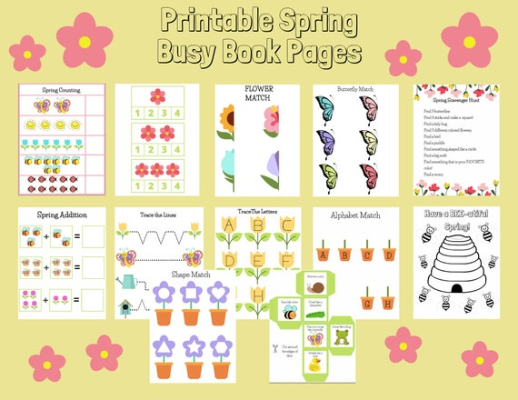 Printable Spring Busy Book Pages Toddlers preschool and