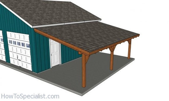 12x24 Attached Lean To Carport Plans Etsy