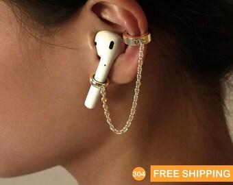 No piercing Airpod Ear cuff Earrings, Stainless Steel Earrings Holder