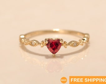 Red and Gold heart ring