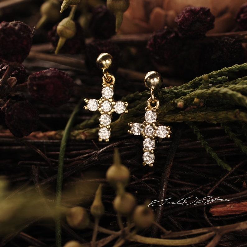 Cross Earrings Dainty Earrings 14K Gold-Plated Sterling Silver Drop Earrings 14K Gold Earrings