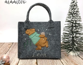 Christmas bag with felt name, Personalized Christmas bag, Felt bag, St. Nicholas boots, St. Nicholas bags, Bear on skates