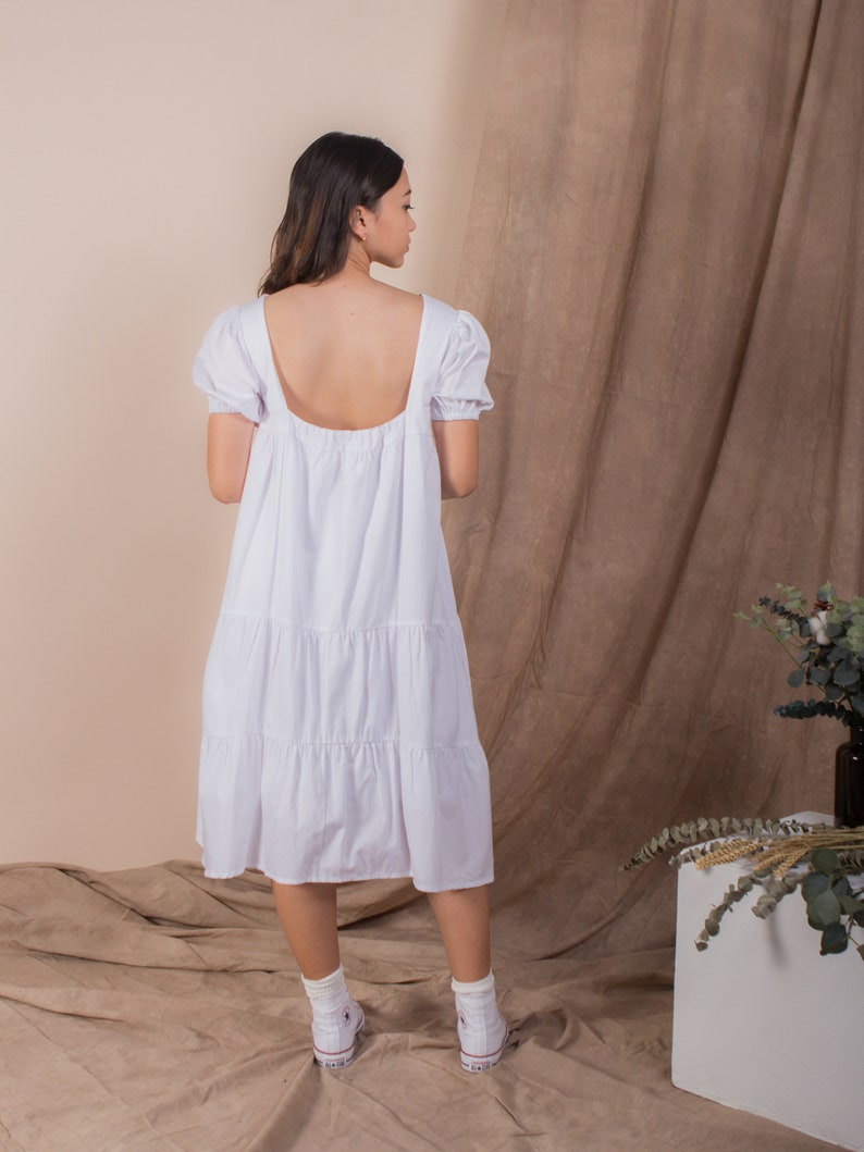 Puffed Sleeve Tiered Square Back Dress in White