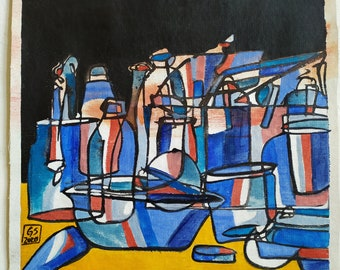 still life with blue and rosa, 2020, acrylic and water colors on canvas, 39 x 37 cm