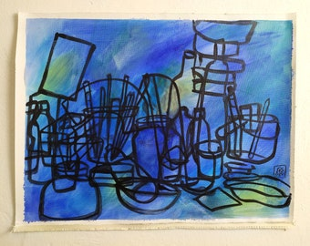 still life on blue and green, 2020, acrylic on canvas, 48 x 36 cm