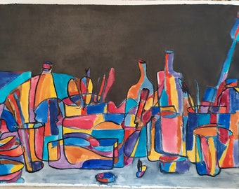 Still life on dark grey, 2020, water colors and acrylic on canvas, 60 x 37 cm