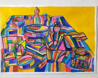 Still life on yellow, 2020, watercolors on paper, 48 x 33 cm