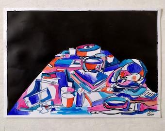 Still life on black, 2020, watercolors on paper, 45 x 33 cm