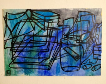 Still life with books on blue, 2020, acrylic on paper, 48 x 33 cm