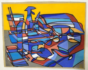 Still life with yellow and blue, 2020, acrylic on canvas, 70 x 56 cm