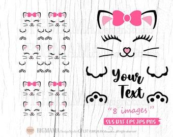 Cat Face SVG,Kitten,Cat Split Monogram Frame,Kitty,Name,Baby Cat Svg File,Cut File,Birthday,Vinyl,Cricut,Silhouette,Instant download_CF137