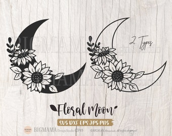 Sunflower Moon SVG,Floral Moon,Luna,Half Moon,Crescent,T-shirt,DXF,PNG,Cut File,Print,Cricut,Silhouette,Commercial use,Instant download_CF93