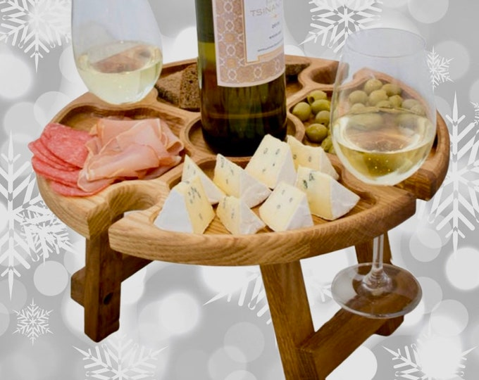 Large 13,8 (35cm) inches Oak Outdoor wine table - wood serving platter - personalized picnic table - cheese board - wooden plate