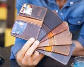 Minimalist Leather Bifold Wallet, Bifold Wallet, Distressed Leather Slim Bifold Wallet, Personalized Leather Wallet,Leather Cardholder