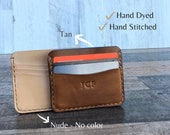 Personalized Tanned Leather Card Holder, Front Pocket Card Holder, Handmade Card Holder, monogrammed Gift Birthday Anniversary Graduation