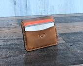 Personalized Leather Credit Cards Wallet, Front Pocket Card Holder for Men, Leather Card Sleeve, Birthday Gift, Handmade Wallet for him