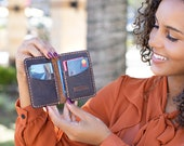 Slim Leather Wallet, Personalized Card Holder, Slim Anniversary Wallet, Monogrammed wallet for him, Minimalist Mens wallet