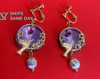 Nightingale Grimm's Fairy Tales Clip on earrings, bird with flowers purple clip on earrings, Bird earrings dangle
