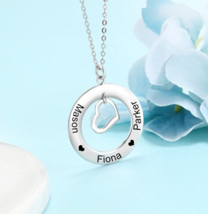 Customized Necklace Personalized 3-Name Made To Order Gift Hollow Round with Heart-Shaped Pendant 925 Sterling Sliver Fashion Jewelry