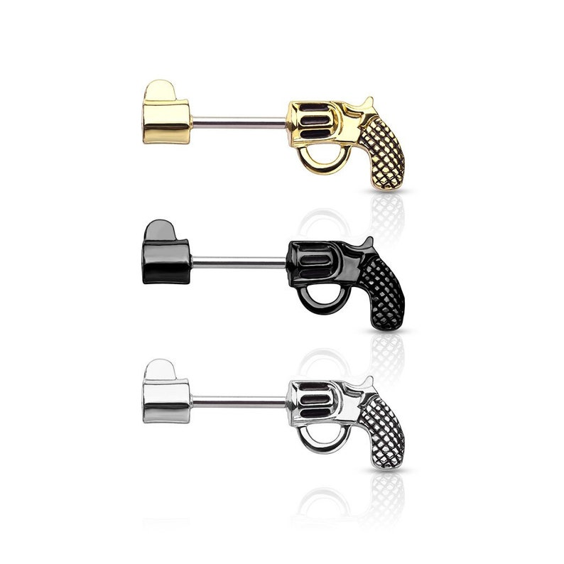 SINGLE Surgical Steel Revolver Pistol Nipple Barbell