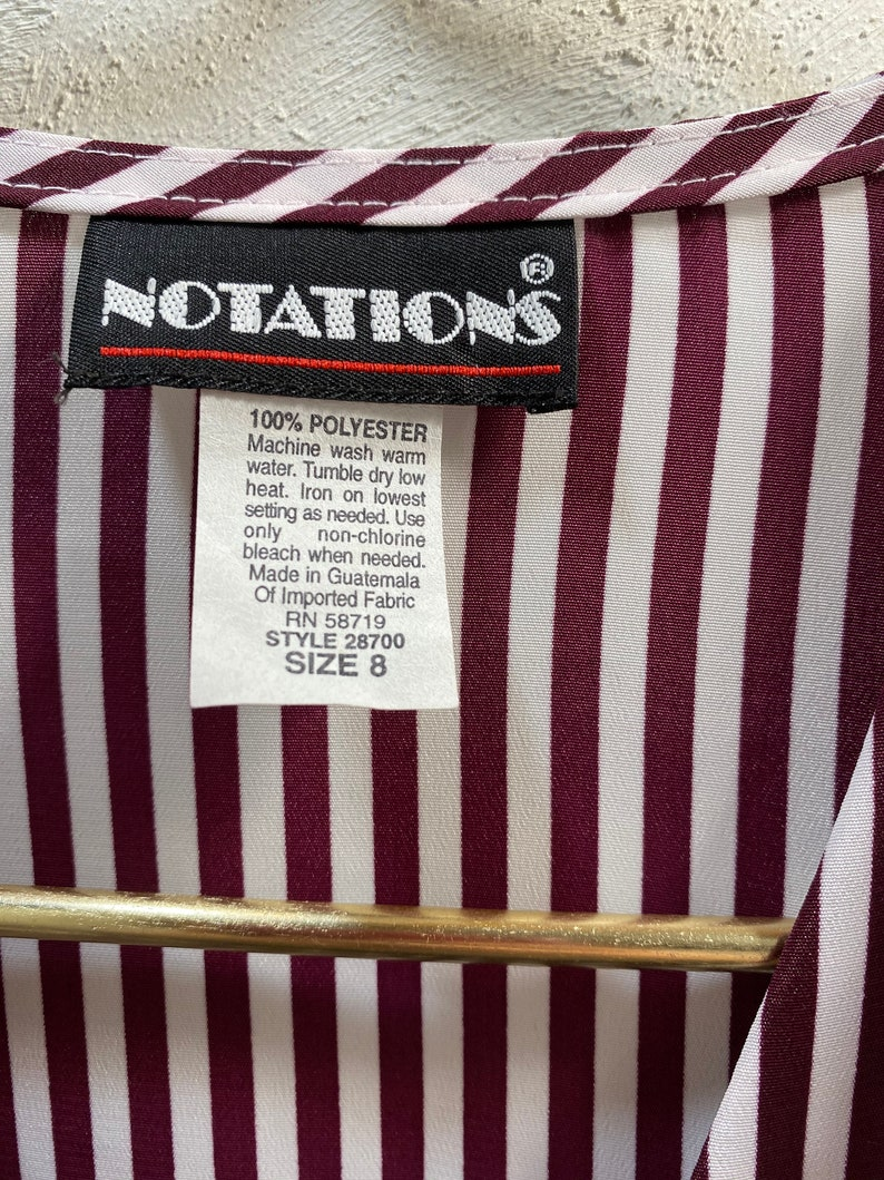 Vintage 1980/'s Notations Button Down Women/'s Blouse Burgundy and White