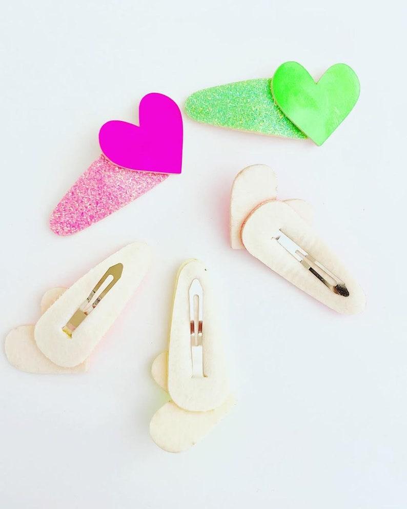 Glitter hair clips Heart hair snap Valentines day hair clips for girlstoddlers girls hair clips Heart Glitter hair clip 2pcs set