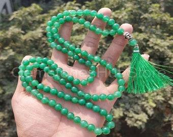 Green Aventurine Buddha JapaMala ~ 108 Beads ~ Beaded Necklace ~ Meditation Beads ~ Yoga Mala ~ Prayer Beads ~ 8MM Natural ~ Tassel Necklace