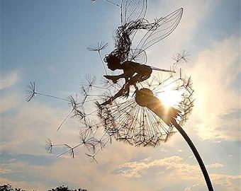 Flower Fairy Fairy Garden Decoration,Metal Fairy Statue,Garden Gardening Crafts,Fairy Sunshade,Glass Window Ornaments