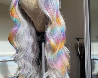 Rainbow body wave Lace Front Human Hair Wigs For Women Brazilian 613 Lace Front Wig Transparent Lace Wigs