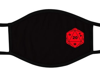 D20 dice Face Mask, Board Game, Reusable cotton and polyester, 2 layers, Comfortable fit, Reversable, Breathable, Washable