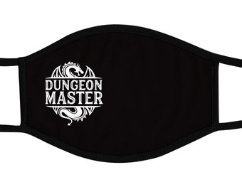 Dungeon Master Face Mask, Board Game, Reusable cotton and polyester, 2 layers, Comfortable fit, Reversable, Breathable, Washable