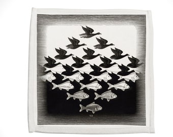 Escher Birds Kitchen Hand Towel, Sky and Water, Cotton, Polyester, perfect gift for cook