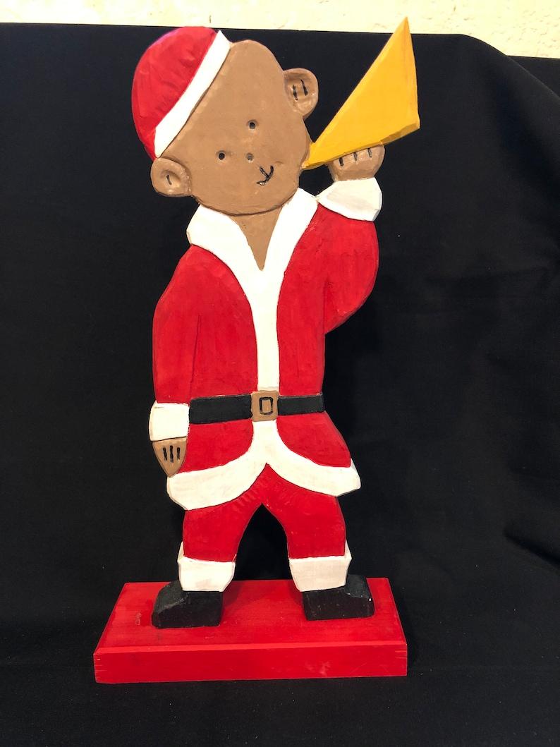 Santa  Teddy Bear blowing horn hand carved