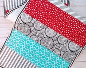 Modern quilted table runner - Table decor - Colorful table runner - Quilted table topper - Modern dresser runner