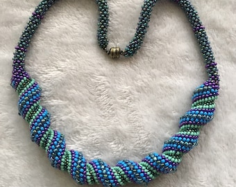 One of a Kind Beaded Spiral Necklace, Cellini Spiral