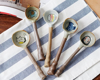 funny dressing spoon. Whimsical ceramic creature spoon