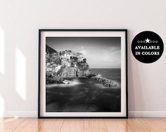 Italy Wall Art   Manarola   Cinque Terre    Square Print   Black and White   Original Photography Print   Home Decor