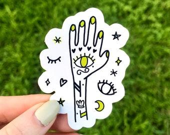 Mystical Hand Die-cut glossy vinyl sticker