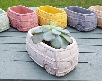 Trendy concrete VW campervan planters - VW plant pot - VW T2 Campervan