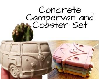 Campervan gift set (concrete coasters & plant pot)