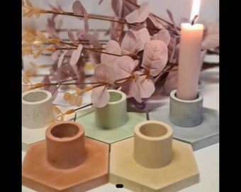 Set of 2 Concrete Candle Holders