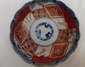 Japanese Imari Porcelain Bowl with Bird and Tree Design.